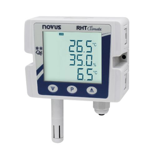 RHT Climate DM-150S-485-LCD transm. with USB, 2AO, 2DO, buzzer, 150mm SS probe, RS485, LCD